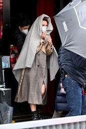 """Lily Collins and Ashley Park - """"Emily in Paris"""" Set at the restaurant """"Roxie"""" in Paris 05/14/2021"""