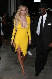 Mandana Bolourchi in a Bright Yellow Dress at Catch Restaurant in West Hollywood 05/22/2021