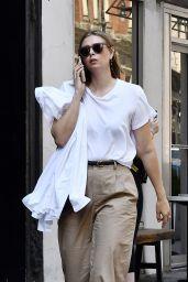 Maria Sharapova in a White Tee, Khaki Pants and White Sneakers - NYC 05/26/2021