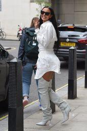 Maya Jama in Mini-Dress and Knee High Boots - London 05/20/2021