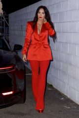 Megan Fox in a Red Hot Bra With Matching Satin Suit and Platform Heels 05/16/2021
