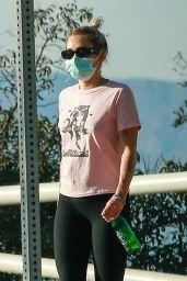 Miley Cyrus in a Pink Graphic Top - LA 04/30/2021