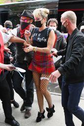 Miley Cyrus in Tartan Mini Skirt - New York 05/06/2021