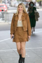 Mollie King in a Suede Mini Skirt and Matching Top - London 05/09/2021