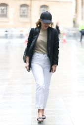 Mollie King in White Jeans and Baseball Cap - London 05/08/2021