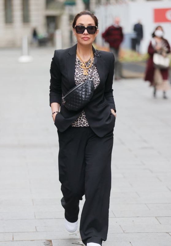 Myleene Klass in a Black Trouser Suit and a Printed Top 05/06/2021