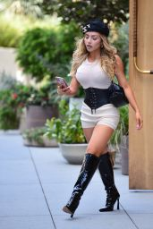 Nathalie Paris Wearing Tight Corset and Knee High Boots 05/05/2021