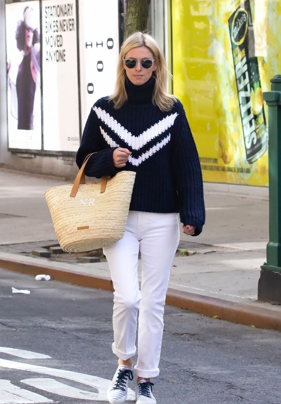Nicky Hilton Wears Black Turtleneck Sweater and Rolled Up White Jeans - NYC 05/25/2021
