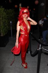 Nikita Dragun in a Red Leather Jumpsuit 05/28/2021