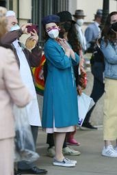 """Rachel Brosnahan on Set Filming New Scenes for the """"The Marvelous Mrs. Maisel"""" in NY 05/12/2021"""