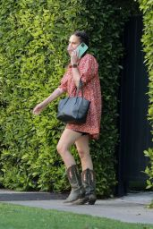 Rumer Willis in a Floral Print Dress and Cowboy Boots 05/19/2021