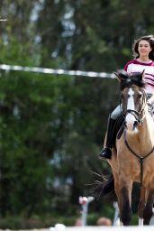 "Sabrina Bartlett Riding a Horse - ""The Larkins"" Drama Filming in London 05/12/2021"