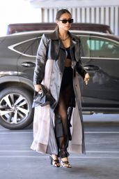 Shay Mitchell in a Black Crop Top, Cargo Pants and a Leather Accented Trench Coat - Beverly Hills 05/25/2021