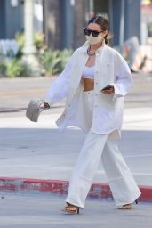 Shay Mitchell Wears Crop Top and White Denim in Los Angeles 05/17/2021
