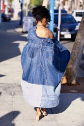 Skai Jackson in a Full Denim Outfit - West Hollywood 05/27/2021