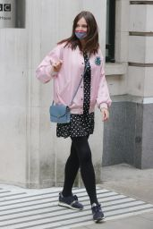 Sophie Ellis-Bextor in a Polka Dot Mini Dress and a Pink Bomber Jacket 05/03/2021