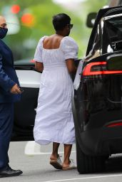 Tamron Hall in a White Dress - New York 05/11/2021
