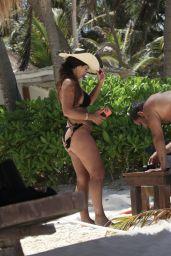 Teresa Giudice in a Black Bikini in Tulum 05/23/2021