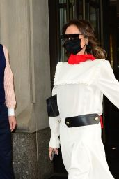 Victoria Beckham in a White Full-Length Dress - NYC 05/25/2021