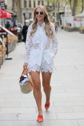 Vogue Williams in a White Top and Matching Shorts - London 05/12/2021
