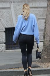 Vogue Williams in Skin Tight Trousers and Blue Cardigan 05/03/2021