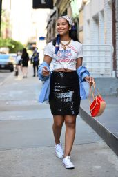 Alana Monteiro in a Vintage Inspired Outfit - New York 06/01/2021