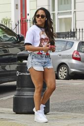 Alex Scott in Denim Shorts and a T-Shirt - London 06/07/2021