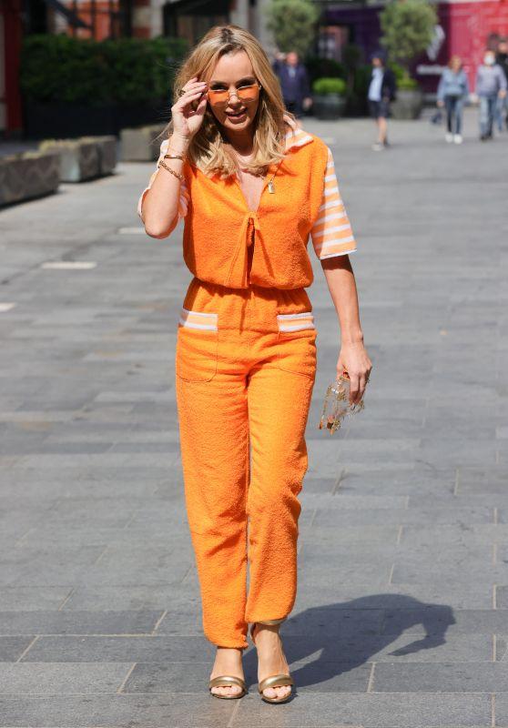 Amanda Holden in a Bright Orange Jumpsuit at Heart Radio in London 06/24/2021