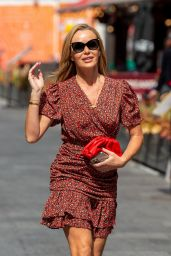 Amanda Holden in a Red Floral Wrap-Front Dress - London 06/07/2021