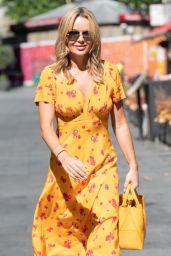 Amanda Holden in Yellow Ochre Floral Midi Dress - London 06/09/2021