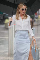 Amanda Holden Wears White Shirt and Silk Thigh-Split Skirt - London 06/21/2021