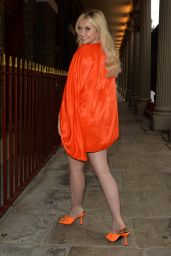 Amy Hart in an Orange Shift Dress at Hairspray The Musical in London 06/29/2021