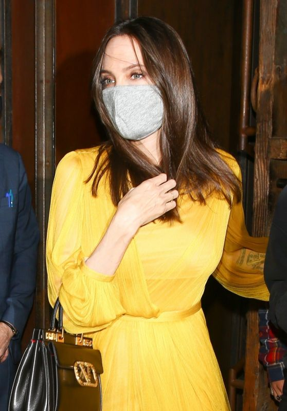 Angelina Jolie in a Yellow Dress at TAO in LA 06/04/2021