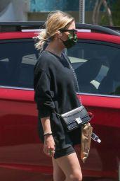 Ashley Benson in Black Biker Shorts and a Crewneck Sweatshirt - Beverly Hills 06/22/2021