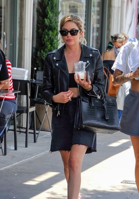 Ashley Benson Wears Black Leather Jacketand Mini Skirt - Los Angeles 06/16/2021