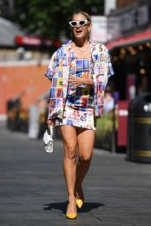 Ashley Roberts in a Multi-Coloured Graphic Mini Dress and a Matching Blazer 06/16/2021