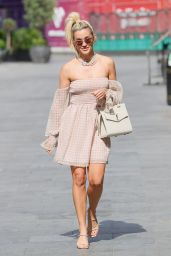 Ashley Roberts in Off  Shoulder Checked Dress 06/24/2021