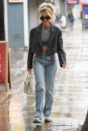 Ashley Roberts Wears Denim Jeans and a Leather Jacket - London 06/21/2021