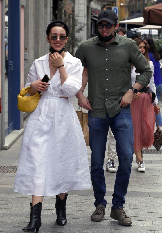 Aurora Ramazzotti and Goffredo Cerza at Resaturant Pha in Milan 06/08/2021