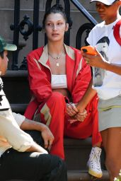 Bella Hadid Wears a Red Track Suit - NYC 06/05/2021