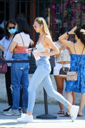 Candice Swanepoel in a Crop Top and Denim - New York 06/10/2021