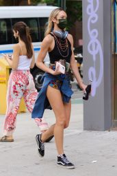 Candice Swanepoel Wearing Short Shorts - New York 06/07/2021
