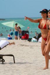 Celeste Bright in a Black Bikini at the Beach in Miami 06/16/2021