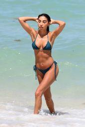 Chantel Jeffries in a Green Bikini on the Beach in Miami 06/07/2021