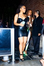 Chloe Bailey in a Black Mini Latex Dress - Megan Thee Stallion