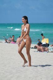 Debbie St. Pierre in a White Bikini at the Beach in Miami Beach 06/10/2021