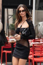 Emily Ratajkowski in a Black Dress and Heels - New York 06/12/2021