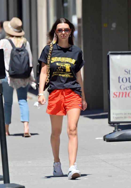 Emily Ratajkowski in a Gun-Printed Black Tee and Orange Shorts - NY 06/23/2021