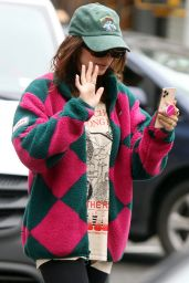 Emily Ratajkowski Wearing a Colorful Coat 06/03/2021