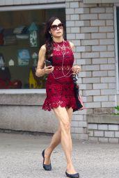 Famke Janssen in Red Mini Dress - New York 06/07/2021